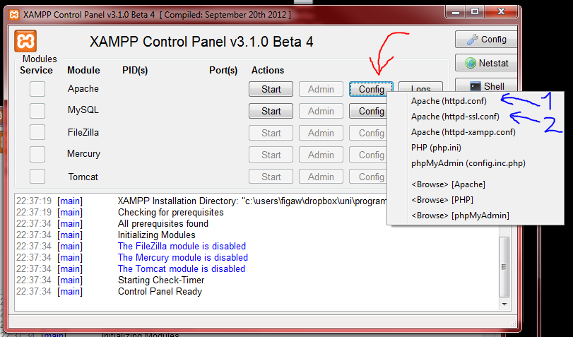 how to change to ports for xampp